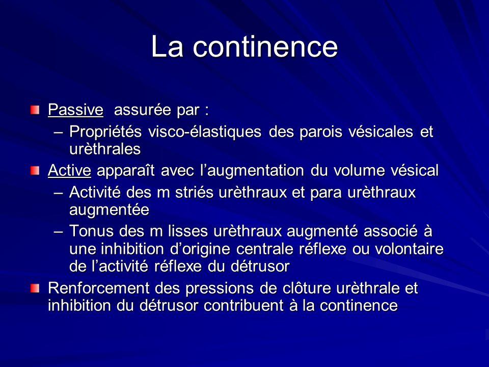 La continence Passive assurée par : –Propriétés visco-élastiques des parois vésicales et urèthrales Active apparaît avec laugmentation du volume vésic