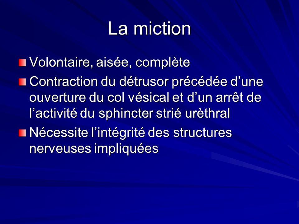 La miction Volontaire, aisée, complète Contraction du détrusor précédée dune ouverture du col vésical et dun arrêt de lactivité du sphincter strié urè