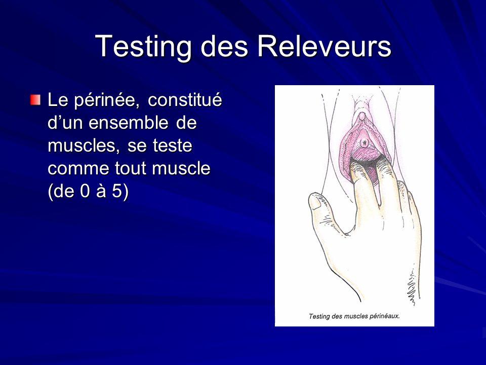Testing des Releveurs Le périnée, constitué dun ensemble de muscles, se teste comme tout muscle (de 0 à 5)