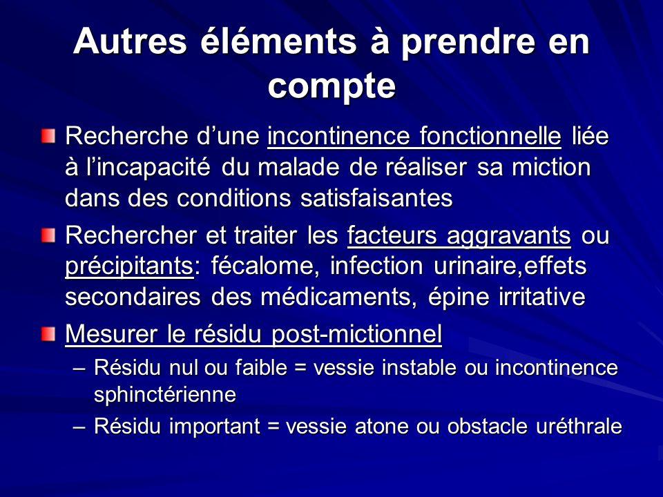 Autres éléments à prendre en compte Recherche dune incontinence fonctionnelle liée à lincapacité du malade de réaliser sa miction dans des conditions