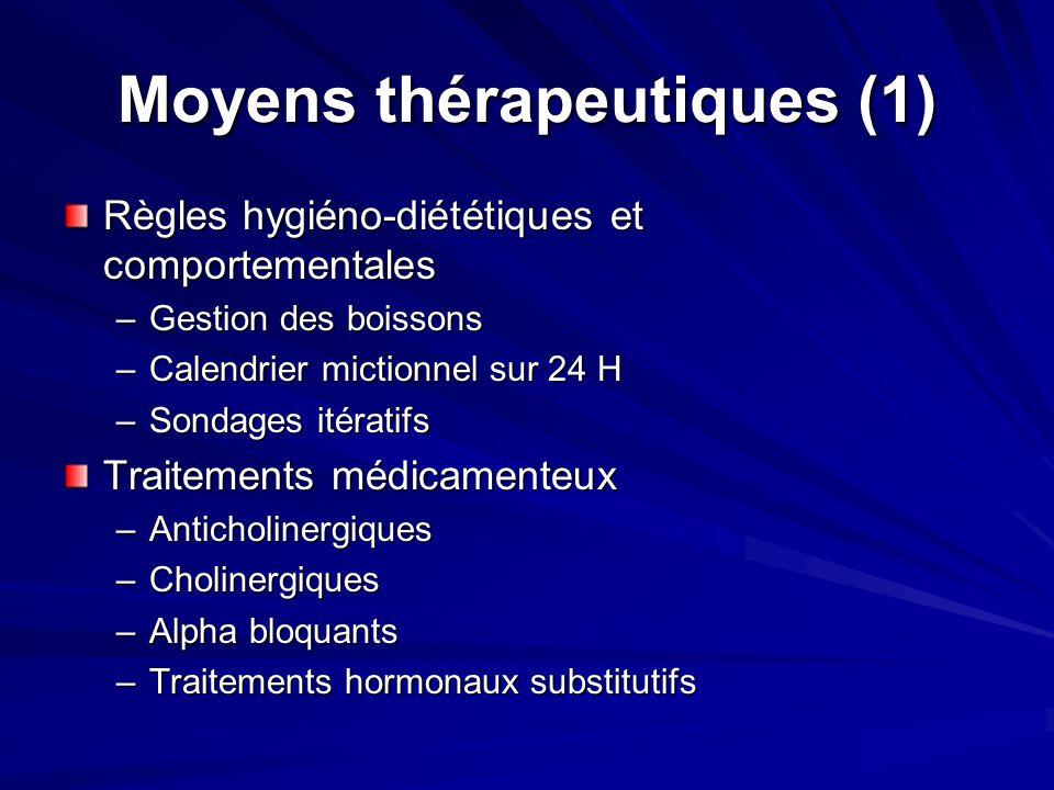 Moyens thérapeutiques (1) Règles hygiéno-diététiques et comportementales –Gestion des boissons –Calendrier mictionnel sur 24 H –Sondages itératifs Tra
