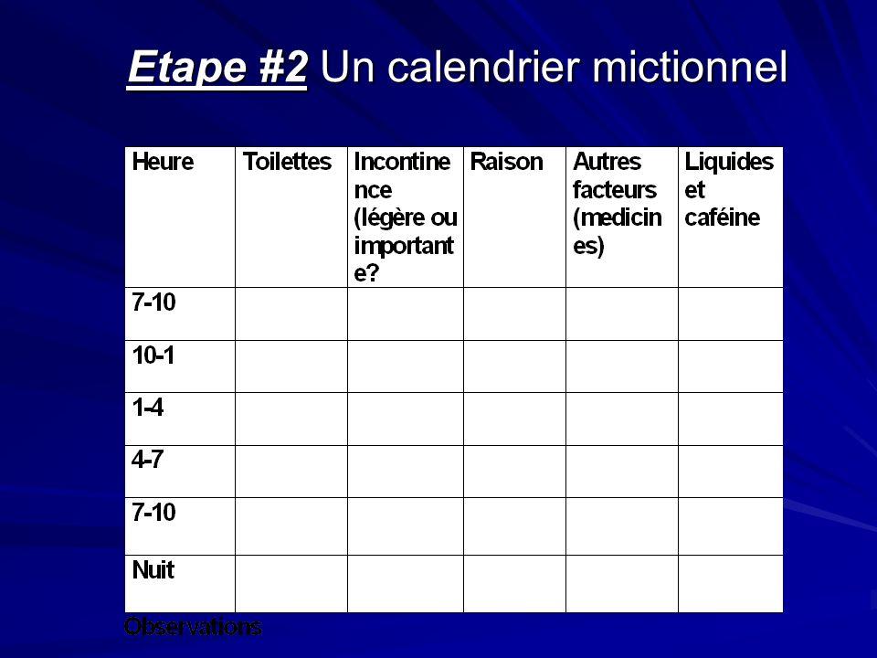 Etape #2 Un calendrier mictionnel