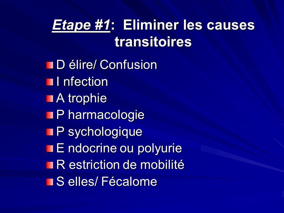 Etape #1: Eliminer les causes transitoires D élire/ Confusion I nfection A trophie P harmacologie P sychologique E ndocrine ou polyurie R estriction d