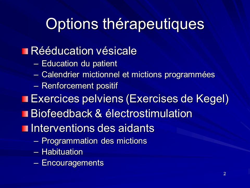 Options thérapeutiques Rééducation vésicale –Education du patient –Calendrier mictionnel et mictions programmées –Renforcement positif Exercices pelvi