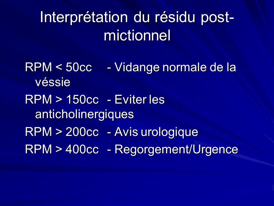 Interprétation du résidu post- mictionnel RPM < 50cc- Vidange normale de la véssie RPM > 150cc- Eviter les anticholinergiques RPM > 200cc- Avis urolog