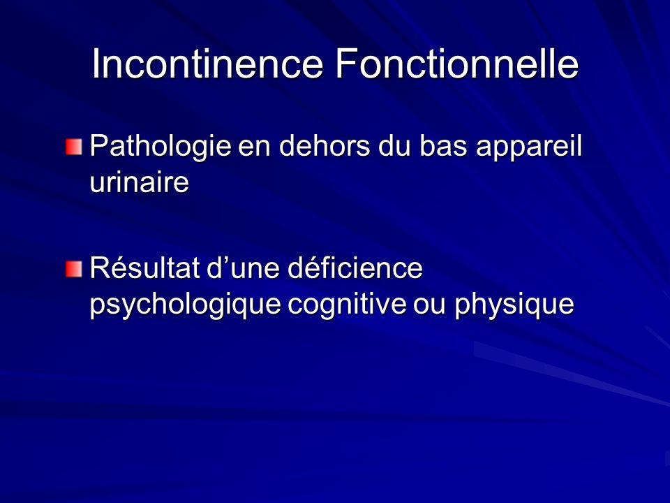 Incontinence Fonctionnelle Pathologie en dehors du bas appareil urinaire Résultat dune déficience psychologique cognitive ou physique