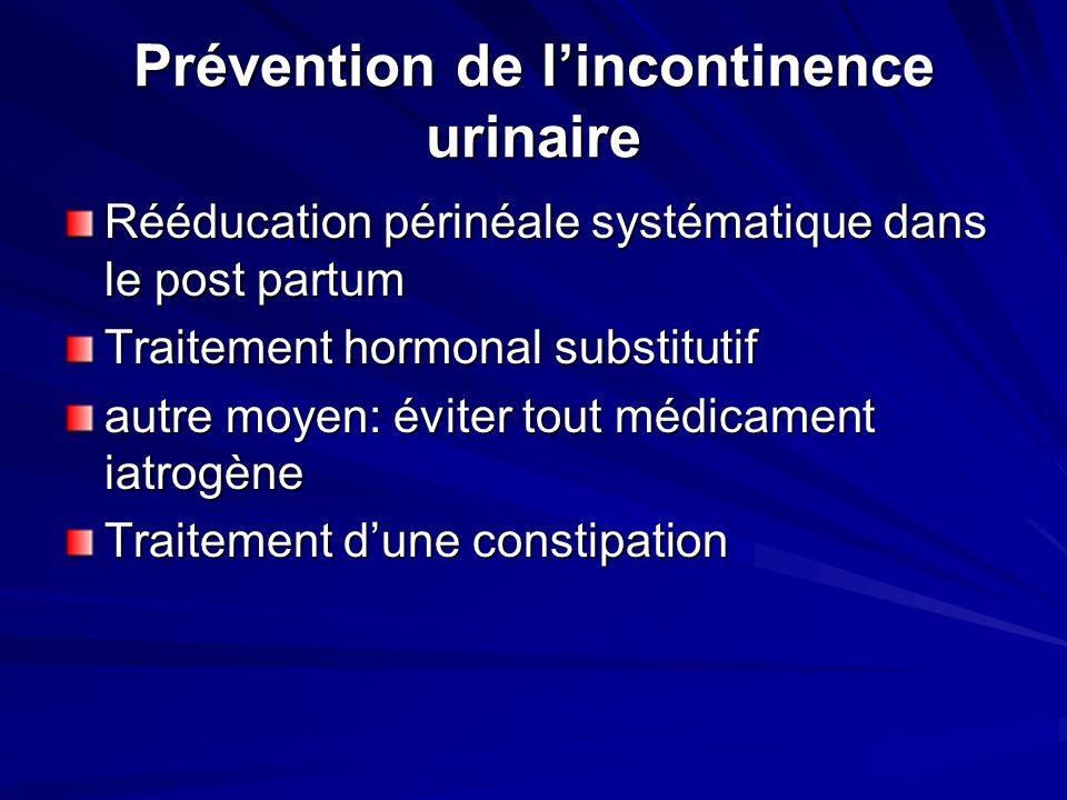 Prévention de lincontinence urinaire Rééducation périnéale systématique dans le post partum Traitement hormonal substitutif autre moyen: éviter tout m