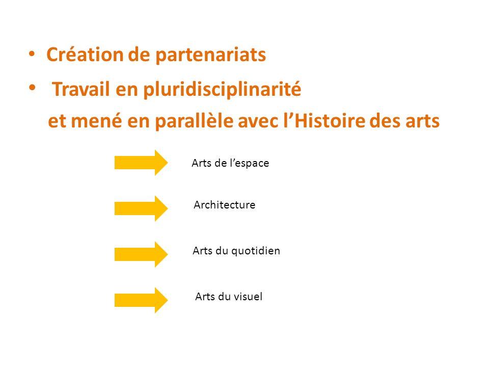 Création de partenariats Travail en pluridisciplinarité et mené en parallèle avec lHistoire des arts Arts de lespace Arts du quotidien Architecture Ar