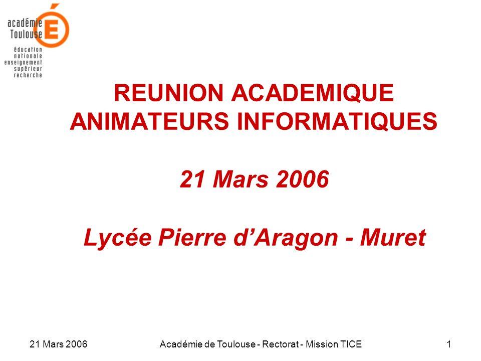21 Mars 2006Académie de Toulouse - Rectorat - Mission TICE1 REUNION ACADEMIQUE ANIMATEURS INFORMATIQUES 21 Mars 2006 Lycée Pierre dAragon - Muret