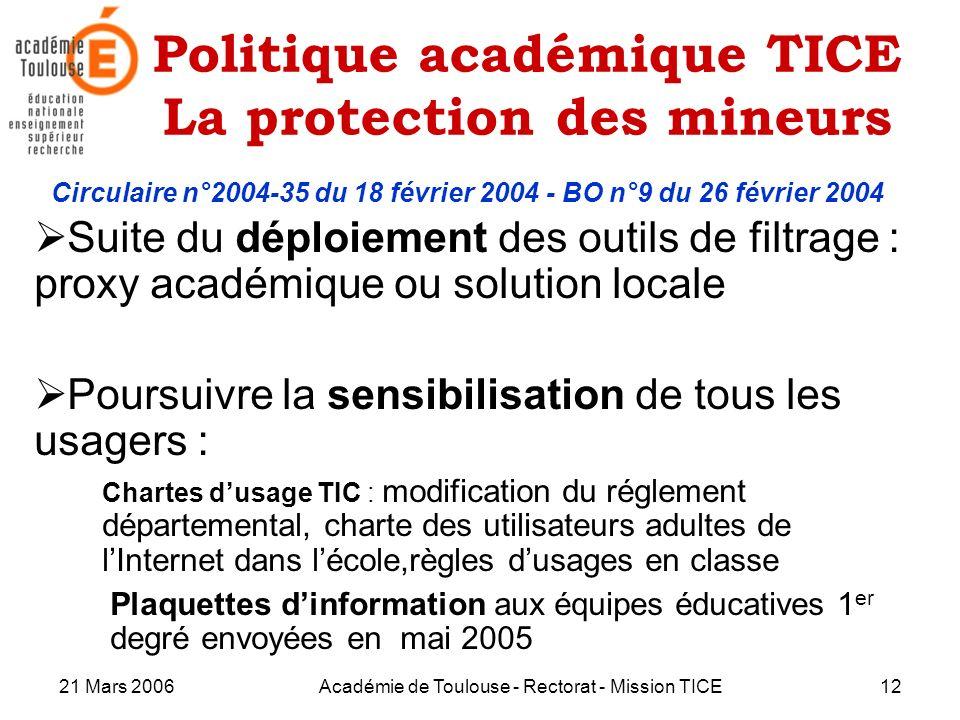 21 Mars 2006Académie de Toulouse - Rectorat - Mission TICE12 Politique académique TICE La protection des mineurs Suite du déploiement des outils de fi