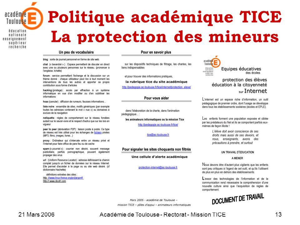 21 Mars 2006Académie de Toulouse - Rectorat - Mission TICE13 Politique académique TICE La protection des mineurs
