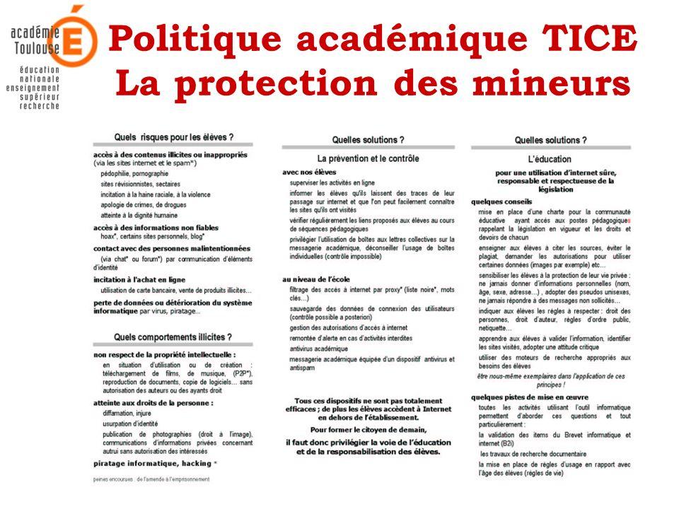 21 Mars 2006Académie de Toulouse - Rectorat - Mission TICE14 Politique académique TICE La protection des mineurs