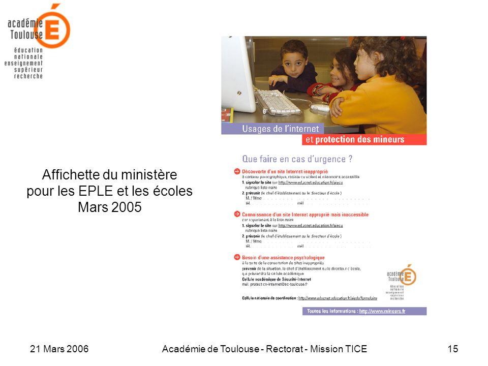 21 Mars 2006Académie de Toulouse - Rectorat - Mission TICE15 Affichette du ministère pour les EPLE et les écoles Mars 2005
