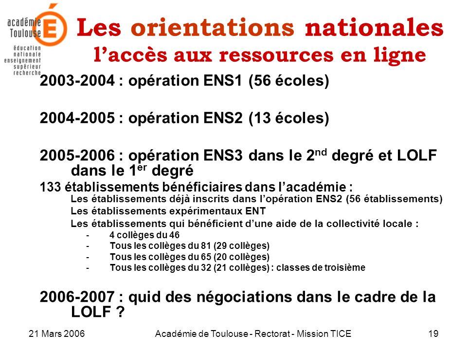 21 Mars 2006Académie de Toulouse - Rectorat - Mission TICE19 Les orientations nationales laccès aux ressources en ligne 2003-2004 : opération ENS1 (56