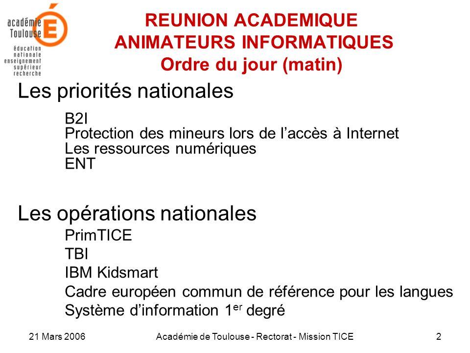 21 Mars 2006Académie de Toulouse - Rectorat - Mission TICE2 REUNION ACADEMIQUE ANIMATEURS INFORMATIQUES Ordre du jour (matin) Les priorités nationales