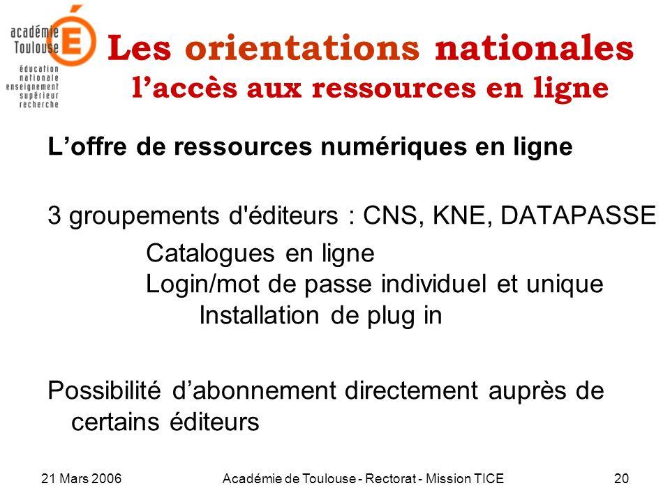 21 Mars 2006Académie de Toulouse - Rectorat - Mission TICE20 Les orientations nationales laccès aux ressources en ligne Loffre de ressources numérique