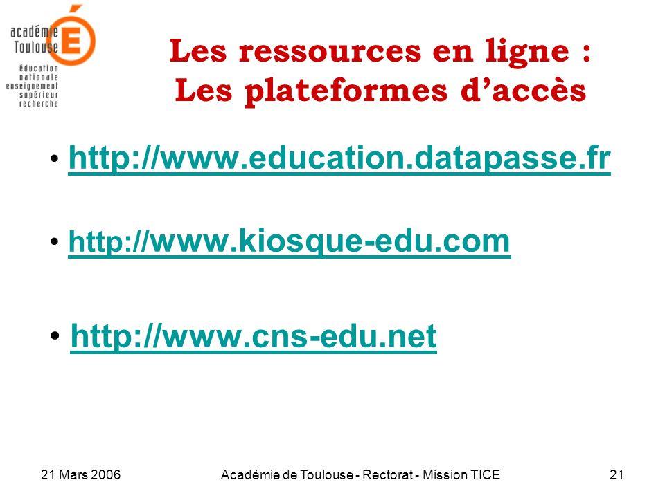 21 Mars 2006Académie de Toulouse - Rectorat - Mission TICE21 Les ressources en ligne : Les plateformes daccès http://www.education.datapasse.fr http:/