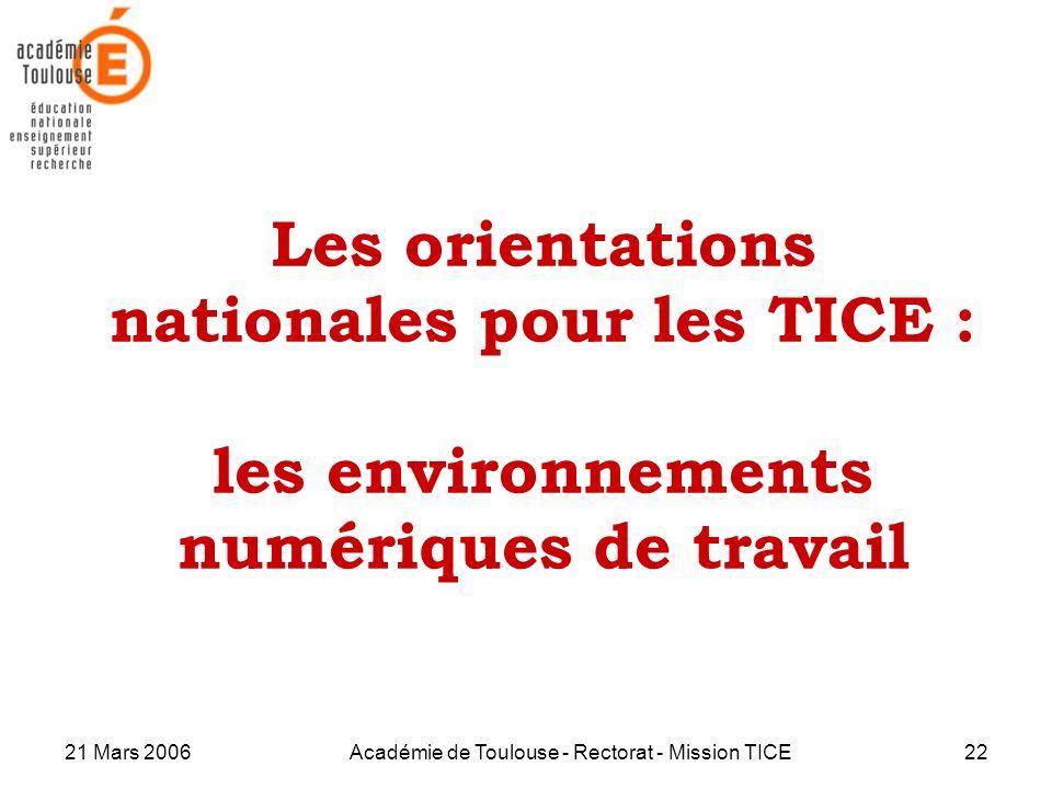 21 Mars 2006Académie de Toulouse - Rectorat - Mission TICE22 Les orientations nationales pour les TICE : les environnements numériques de travail