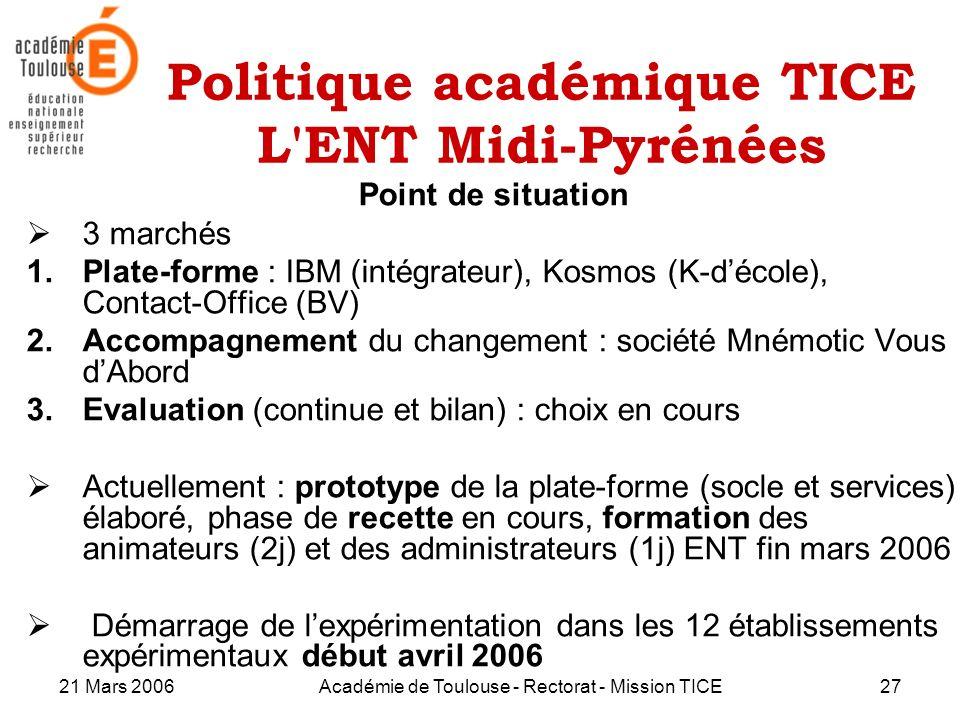 21 Mars 2006Académie de Toulouse - Rectorat - Mission TICE27 Politique académique TICE L'ENT Midi-Pyrénées Point de situation 3 marchés 1.Plate-forme