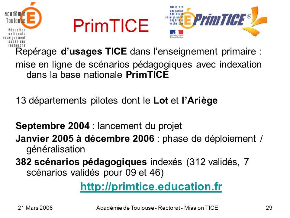 21 Mars 2006Académie de Toulouse - Rectorat - Mission TICE29 PrimTICE Repérage dusages TICE dans lenseignement primaire : mise en ligne de scénarios p