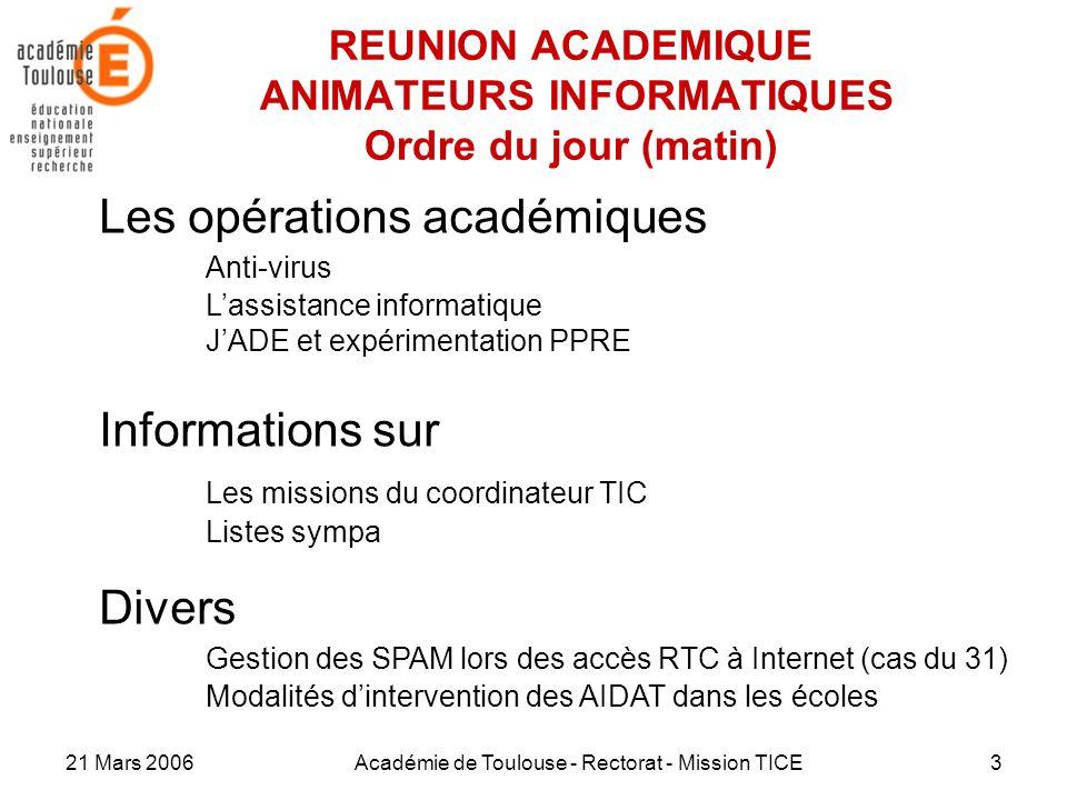 21 Mars 2006Académie de Toulouse - Rectorat - Mission TICE3 REUNION ACADEMIQUE ANIMATEURS INFORMATIQUES Ordre du jour (matin) Les opérations académiqu