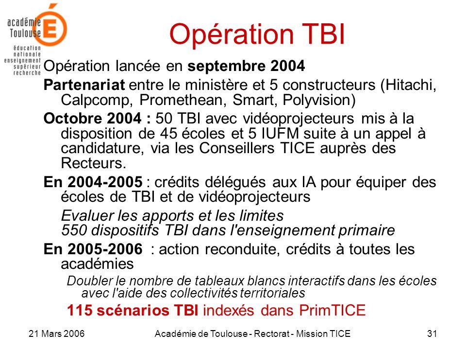 21 Mars 2006Académie de Toulouse - Rectorat - Mission TICE31 Opération TBI Opération lancée en septembre 2004 Partenariat entre le ministère et 5 cons