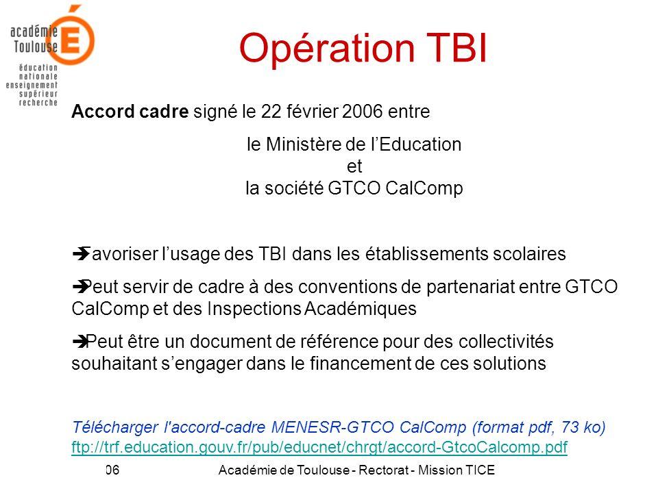 21 Mars 2006Académie de Toulouse - Rectorat - Mission TICE33 Opération TBI Accord cadre signé le 22 février 2006 entre le Ministère de lEducation et l