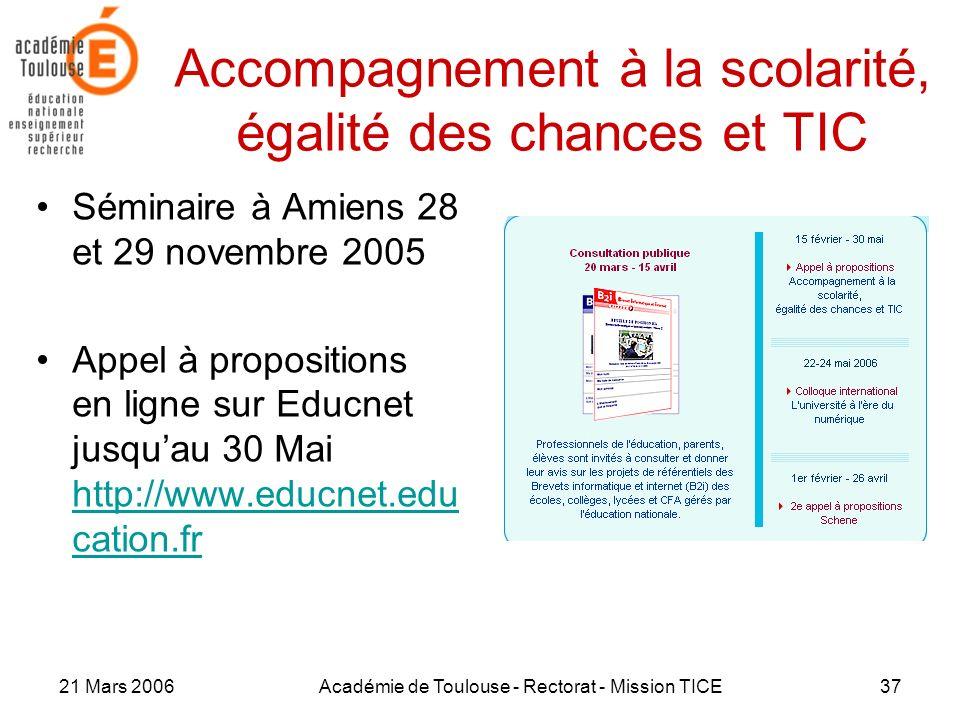 21 Mars 2006Académie de Toulouse - Rectorat - Mission TICE37 Accompagnement à la scolarité, égalité des chances et TIC Séminaire à Amiens 28 et 29 nov