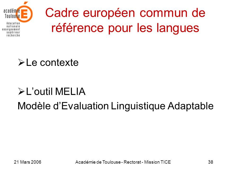 21 Mars 2006Académie de Toulouse - Rectorat - Mission TICE38 Cadre européen commun de référence pour les langues Le contexte Loutil MELIA Modèle dEval