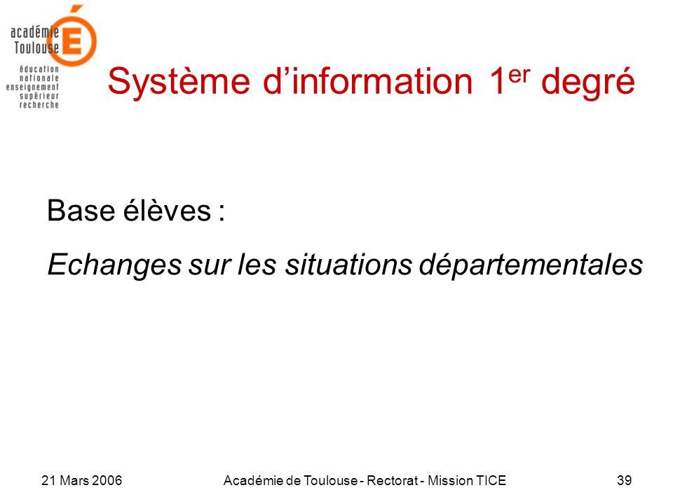 21 Mars 2006Académie de Toulouse - Rectorat - Mission TICE39 Système dinformation 1 er degré Base élèves : Echanges sur les situations départementales