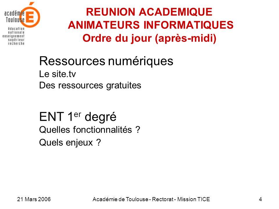 21 Mars 2006Académie de Toulouse - Rectorat - Mission TICE4 REUNION ACADEMIQUE ANIMATEURS INFORMATIQUES Ordre du jour (après-midi) Ressources numériqu