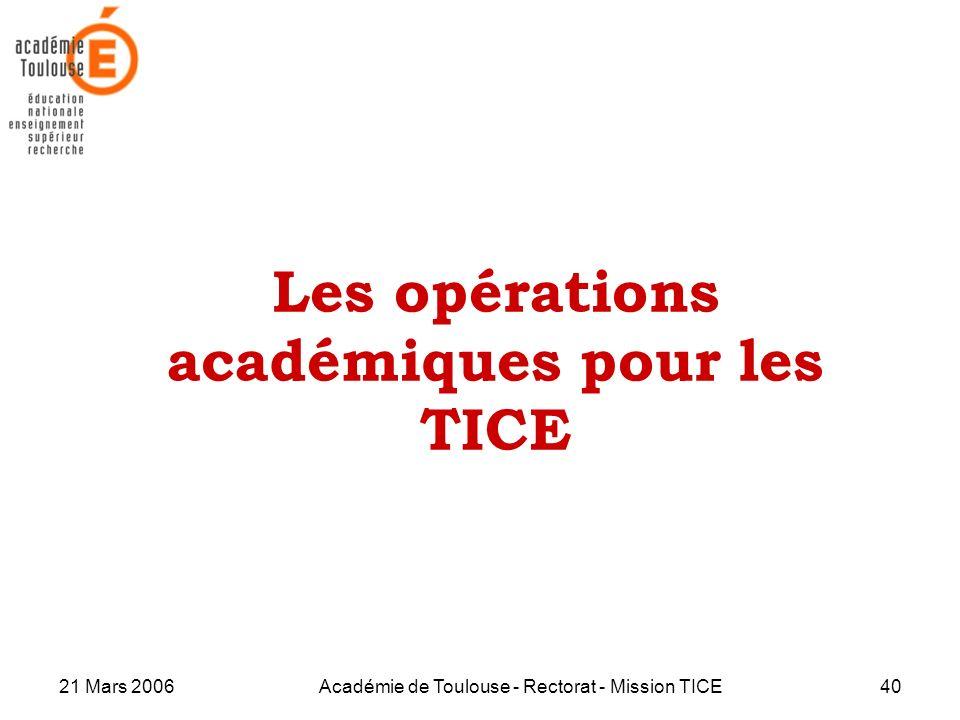 21 Mars 2006Académie de Toulouse - Rectorat - Mission TICE40 Les opérations académiques pour les TICE