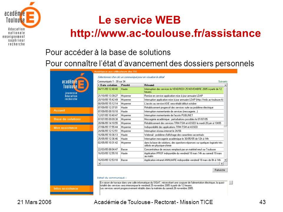 21 Mars 2006Académie de Toulouse - Rectorat - Mission TICE43 Le service WEB http://www.ac-toulouse.fr/assistance Pour accéder à la base de solutions P