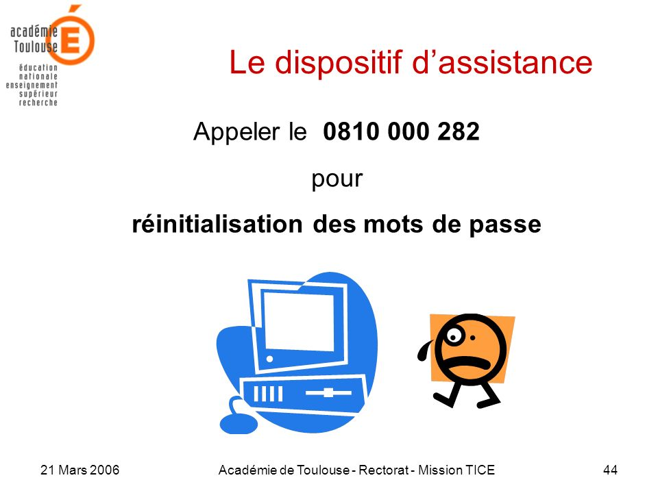 21 Mars 2006Académie de Toulouse - Rectorat - Mission TICE44 Le dispositif dassistance Appeler le 0810 000 282 pour réinitialisation des mots de passe