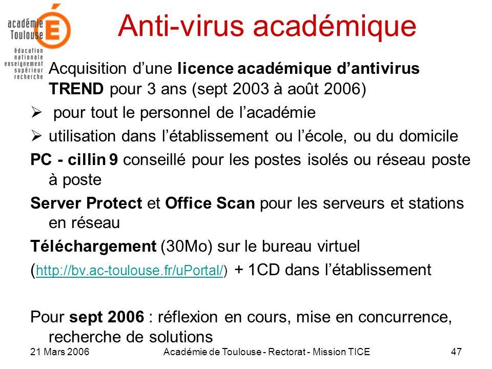 21 Mars 2006Académie de Toulouse - Rectorat - Mission TICE47 Anti-virus académique Acquisition dune licence académique dantivirus TREND pour 3 ans (se