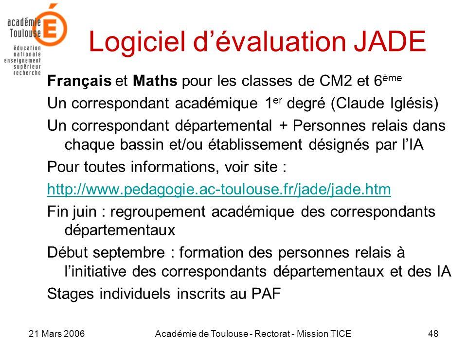 21 Mars 2006Académie de Toulouse - Rectorat - Mission TICE48 Logiciel dévaluation JADE Français et Maths pour les classes de CM2 et 6 ème Un correspon