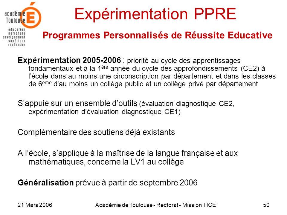 21 Mars 2006Académie de Toulouse - Rectorat - Mission TICE50 Expérimentation PPRE Programmes Personnalisés de Réussite Educative Expérimentation 2005-