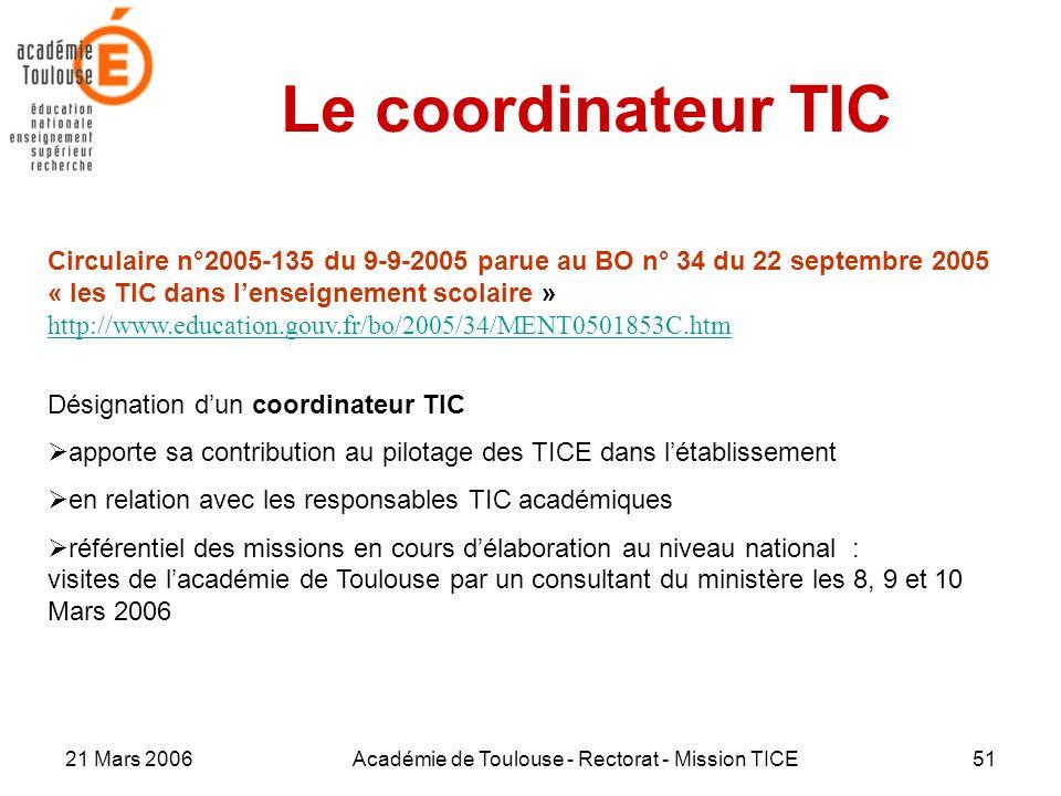 21 Mars 2006Académie de Toulouse - Rectorat - Mission TICE51 Le coordinateur TIC Circulaire n°2005-135 du 9-9-2005 parue au BO n° 34 du 22 septembre 2