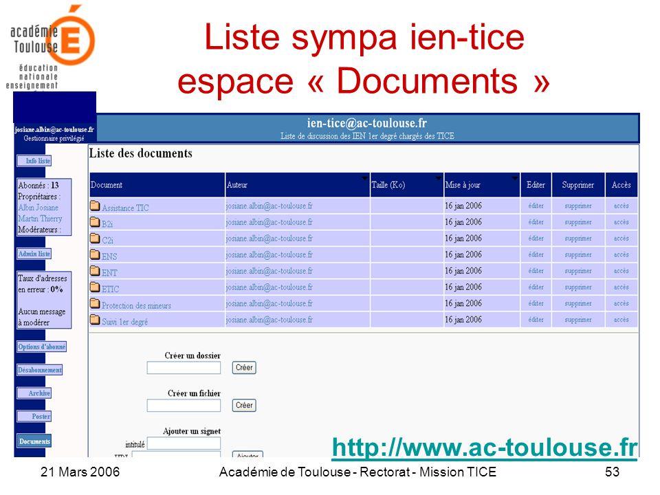 21 Mars 2006Académie de Toulouse - Rectorat - Mission TICE53 Liste sympa ien-tice espace « Documents » http://www.ac-toulouse.fr