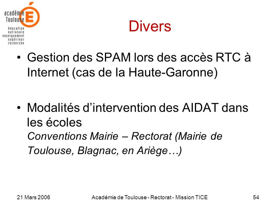 21 Mars 2006Académie de Toulouse - Rectorat - Mission TICE54 Divers Gestion des SPAM lors des accès RTC à Internet (cas de la Haute-Garonne) Modalités