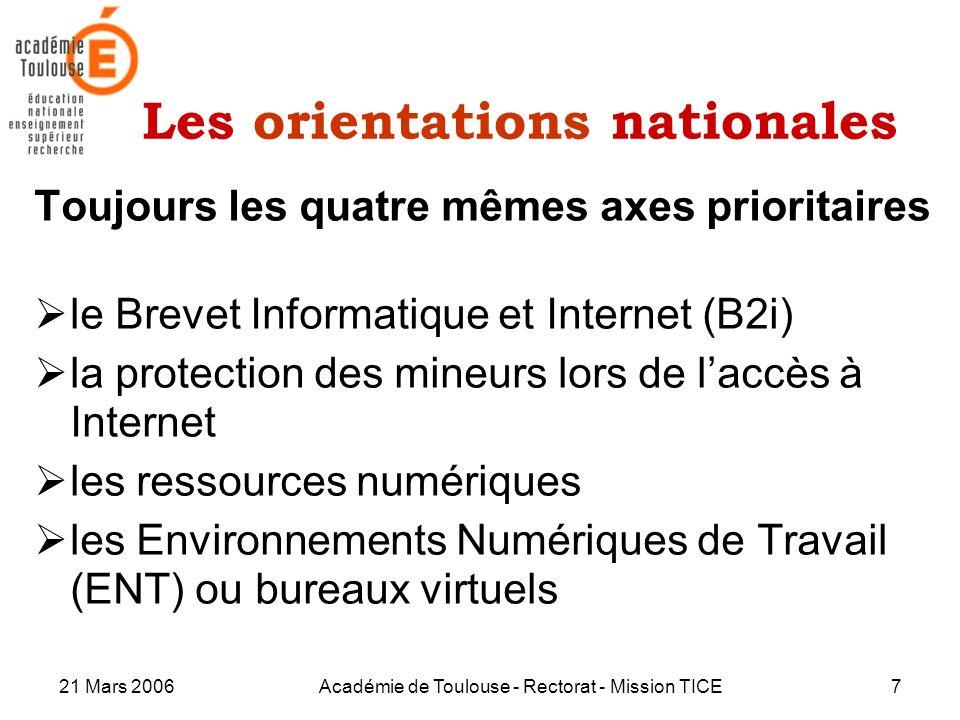 21 Mars 2006Académie de Toulouse - Rectorat - Mission TICE7 Les orientations nationales Toujours les quatre mêmes axes prioritaires le Brevet Informat