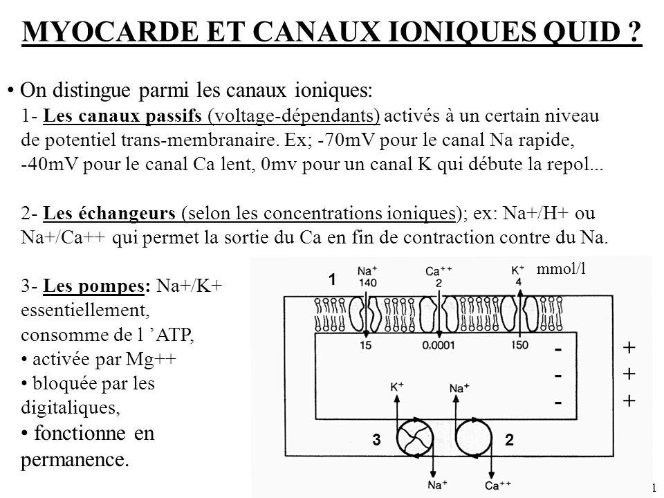 Dr SENET JM1 MYOCARDE ET CANAUX IONIQUES QUID ? - + On distingue parmi les canaux ioniques: 1- Les canaux passifs (voltage-dépendants) activés à un ce