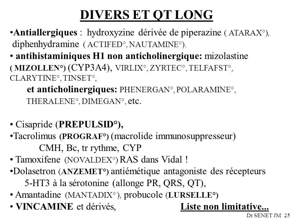 Dr SENET JM25 DIVERS ET QT LONG Antiallergiques : hydroxyzine dérivée de piperazine ( ATARAX°), diphenhydramine ( ACTIFED°, NAUTAMINE°). antihistamini