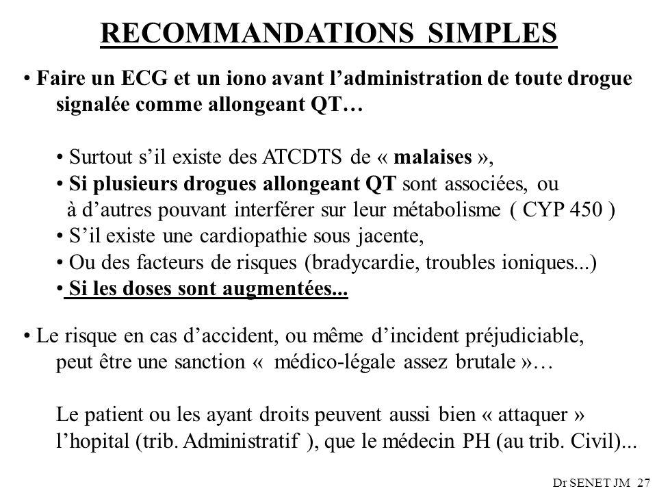 Dr SENET JM27 RECOMMANDATIONS SIMPLES Faire un ECG et un iono avant ladministration de toute drogue signalée comme allongeant QT… Surtout sil existe d