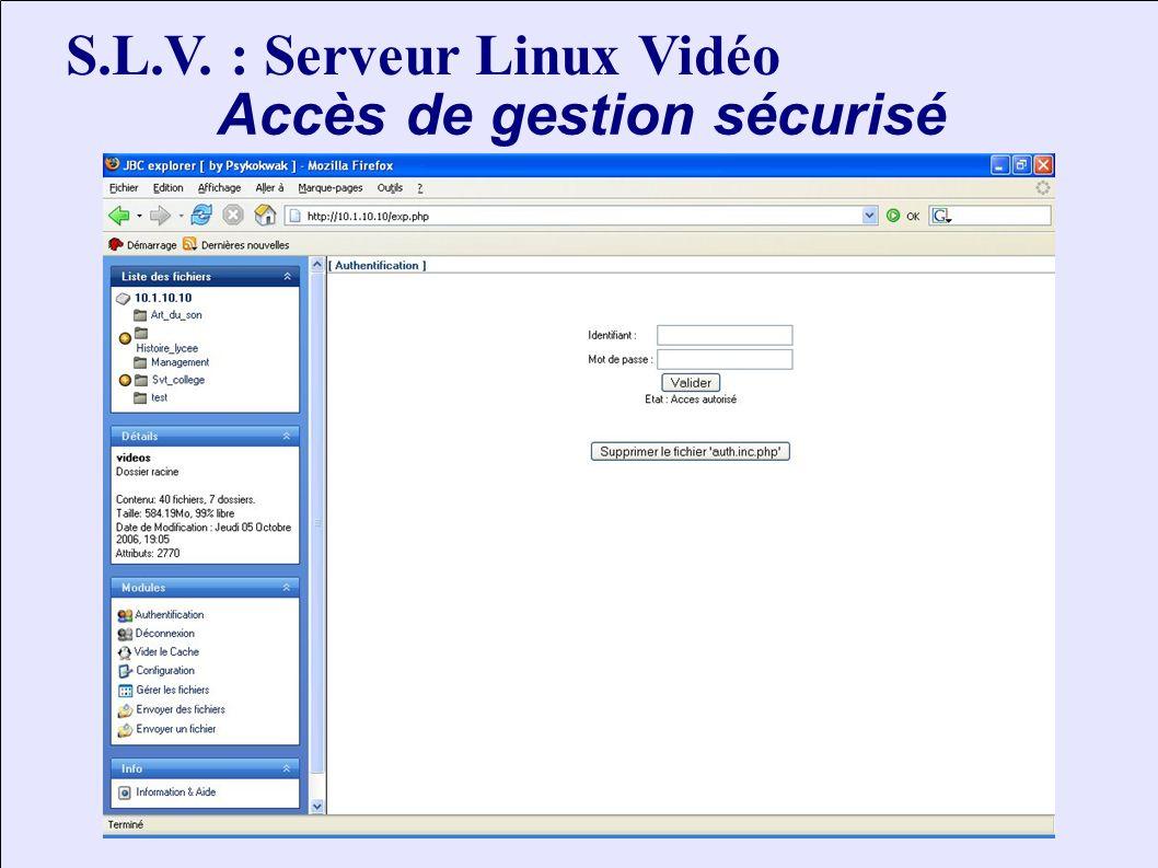 S.L.V. : Serveur Linux Vidéo Accès de gestion sécurisé