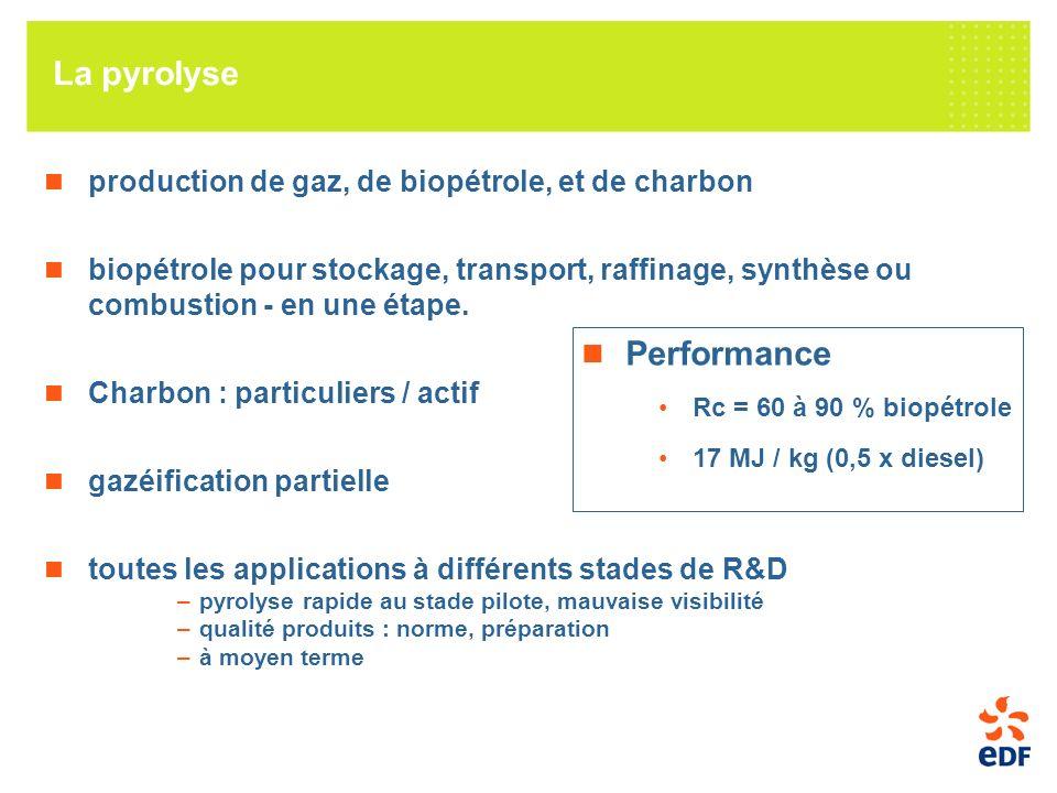La pyrolyse production de gaz, de biopétrole, et de charbon biopétrole pour stockage, transport, raffinage, synthèse ou combustion - en une étape.