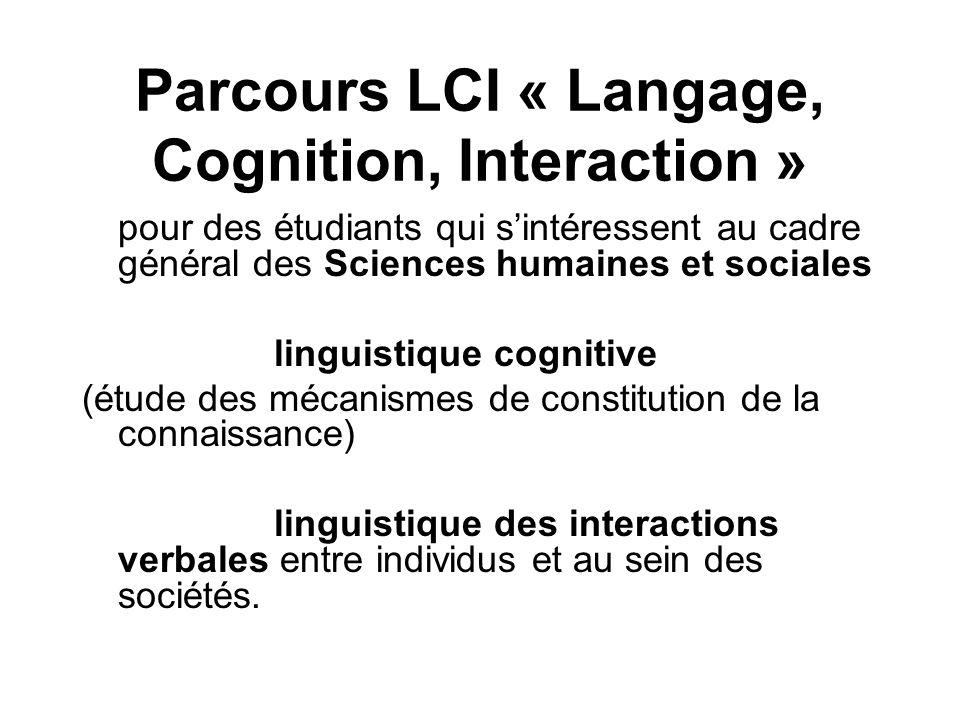 Parcours LCI « Langage, Cognition, Interaction » pour des étudiants qui sintéressent au cadre général des Sciences humaines et sociales linguistique c