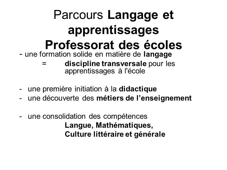 Parcours Langage et apprentissages Professorat des écoles - une formation solide en matière de langage =discipline transversale pour les apprentissage