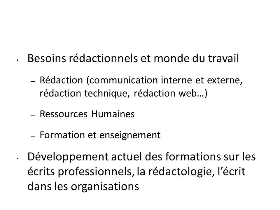 Besoins rédactionnels et monde du travail – Rédaction (communication interne et externe, rédaction technique, rédaction web…) – Ressources Humaines –