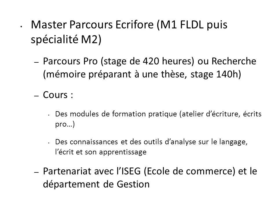Master Parcours Ecrifore (M1 FLDL puis spécialité M2) – Parcours Pro (stage de 420 heures) ou Recherche (mémoire préparant à une thèse, stage 140h) –